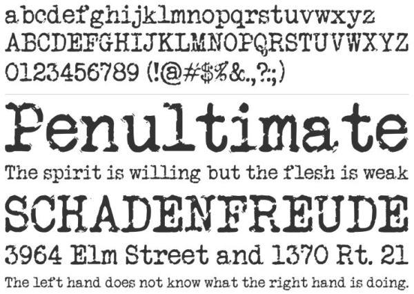 font secret typewriter