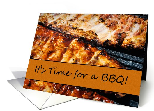 It's Time for a BBQ Barbecue Grill Outdoor Invitation card (735202) 2016-07-21 09-39-47