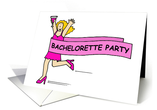 Bachelorette party Invitation, lady in pink. card (1327584) 2016-08-19 12-14-05